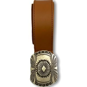 BERGE Cognac Genuine Leather Belt Made in Italy S